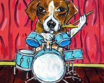 Beagle Playing Drums picture Dog Art Tile coaster gift