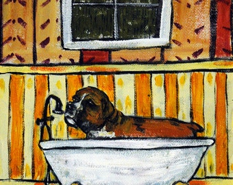 Boxer Taking a Bath Picture  Dog Art Print giclee gift