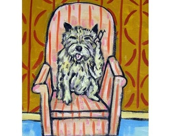 Cairn Terrier Talking on a Cell Phone Dog Art Print