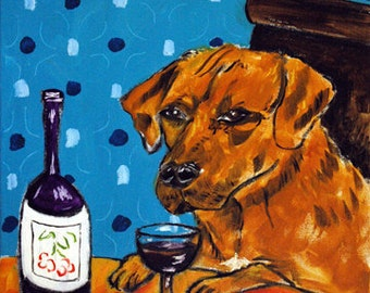 Rhodesian Ridgeback at the Wine Bar Dog Art Tile Coaster Gift