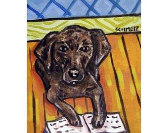 Black Labrador Retriever Reading a Book Dog Art Print 8x10