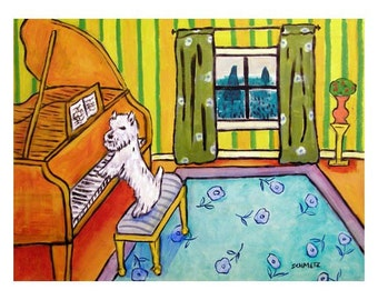 West Highland White Terrier Playing the Piano Dog Art Print