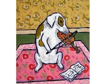Jack Russell Terrier Playing the Violin Dog Art Print