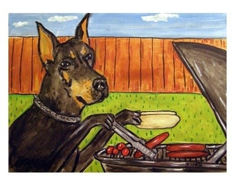 Doberman Pinscher at the Cook Out Dog Art Print