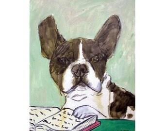 French Bulldog Reading a Book Dog Art Print