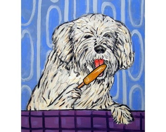 Havanese with a Popsicle Dog Art Print