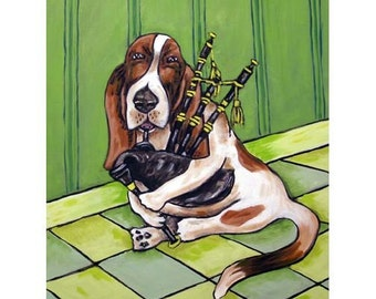 Basset Hound Playing the Bagpipes Dog Art Print