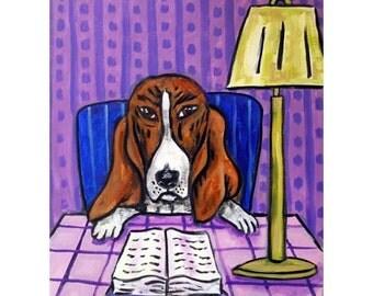 Basset Hound Reading a Book Dog Art Print