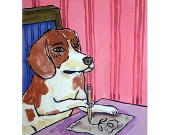 Beagle Artist Drawing Dog Animal Art Print