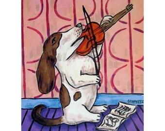 basset hound, dog art PRINT, modern dog art, violin, violin print,dog, dog print, basset hound print,