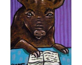 Pig Reading Animal Art Print
