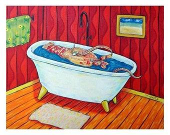 Lobster Taking a Bath Sea Creature Art Print