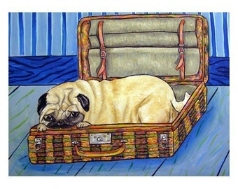 Pug in a Suitcase Dog Art Print