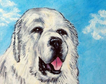 Great Pyrenees with the Sky Dog Art TIle Coaster