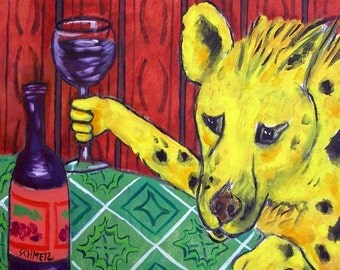 Hyena art wine gift tile coaster modern folk
