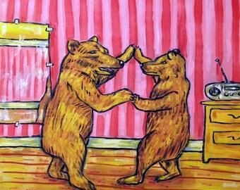 Brown Bears in the Dance Studio Animal Art Tile Coaster