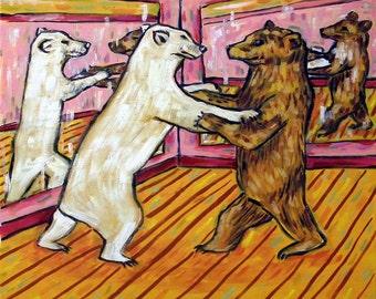 Polar Bear and Brown Bear Dancing Animal Art Tile Coaster