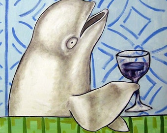 Beluga Whale at the Wine Bar Art Tile Coaster