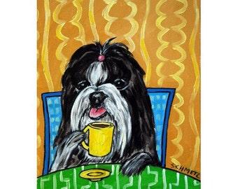 Shih Tzu at the Coffee Shop Dog Art Print