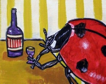 Ladybug at the Wine Bar Insect Art Tile
