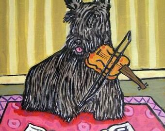 Scottish Terrier Playing the Violin Dog Art Tile Coaster gift JSCHMETZ modern FOLK  POP art