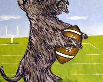 Scottish Terrier Playing Football Dog Art Tile Coastr gift JSCHMETZ modern abstract folk pop art american ART