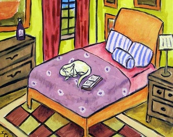 White Cat Sleeping Art Tile Coaster gift art tile JSCHMETZ american MOCERN folk pop art
