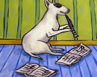 Bull Terrier Playing the Clarinet Dog Art Tile