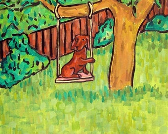 Dachshund in a Tree Swing Dog Art Tile