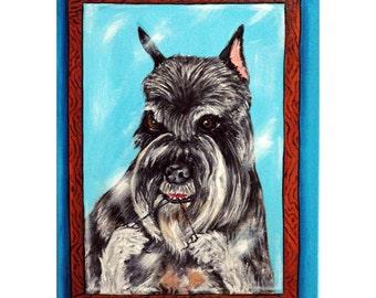 Schnauzer Flossing Dog Art Print 8x10