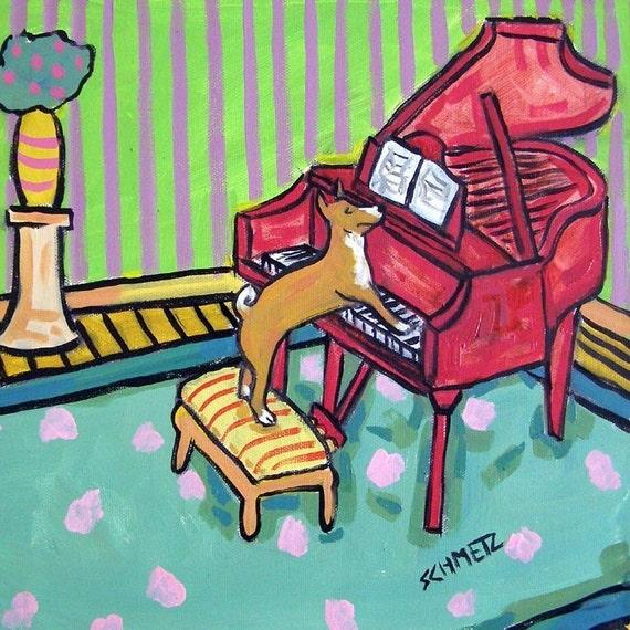 Basenji Playing Piano Dog Art Tile