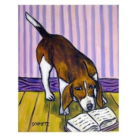 Beagle Reading a Book Dog Art PRINT 11x14 JSCHMETZ modern abstract folk pop art american ART gift