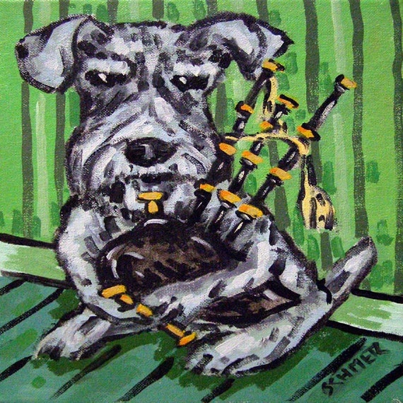 Schnauzer Playing the Bagpipes Dog Art Tile Coaster Gift