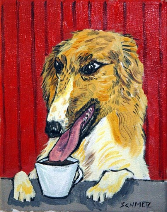 Borzoi at the Coffee Shop Dog Art Print