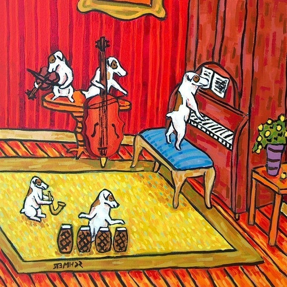 Jack Russell Band Dog Art Tile Coaster Gift