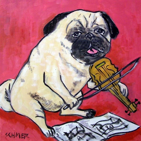 Pug Playing the Violin Dog Art Tile Coaster