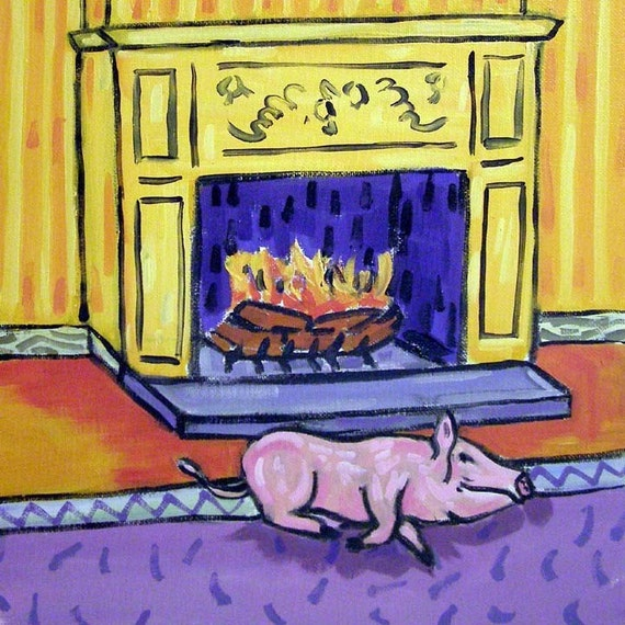 Pig by the Fireplace Animal Art Tile Coaster Gift