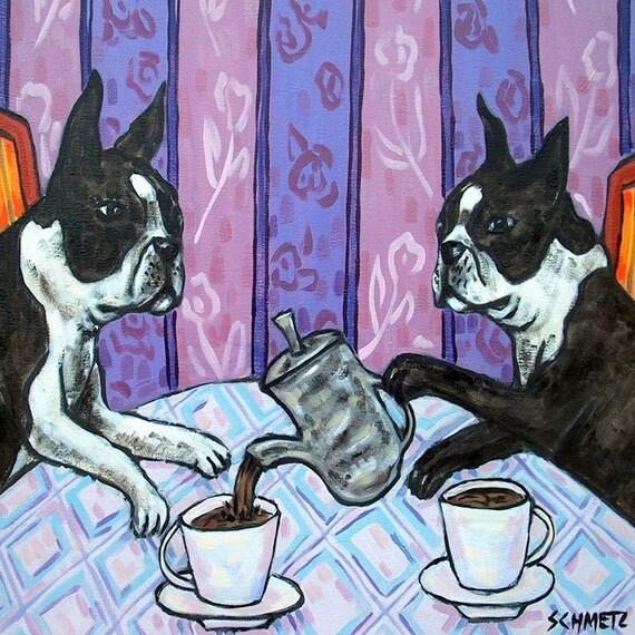 Boston terrier tile, boston terrier art, tea room art, boston terrier gift, dog art, dog tile, tile, coaster, modern folk art