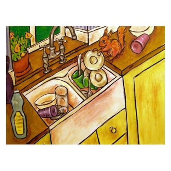 Kitchen Folk Art: Kitchen Print Squirrel Art Modern Folk Art 11x14
