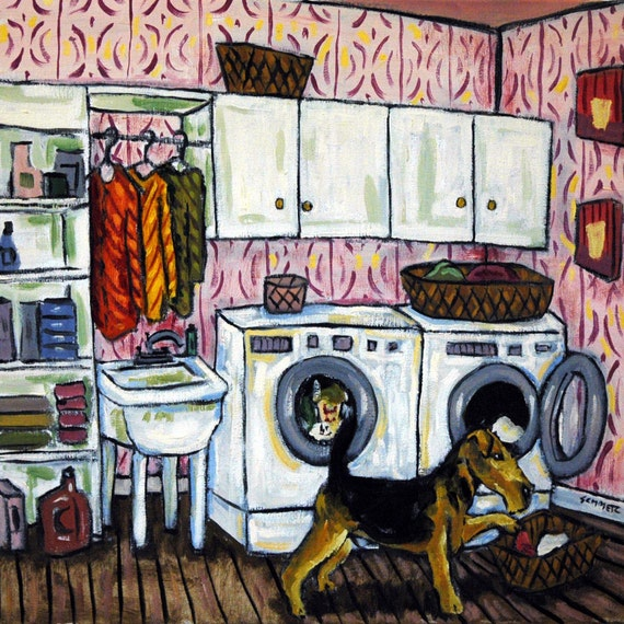 Airedale Terrier Doing the Laundry Dog Art Tile Coaster Gift