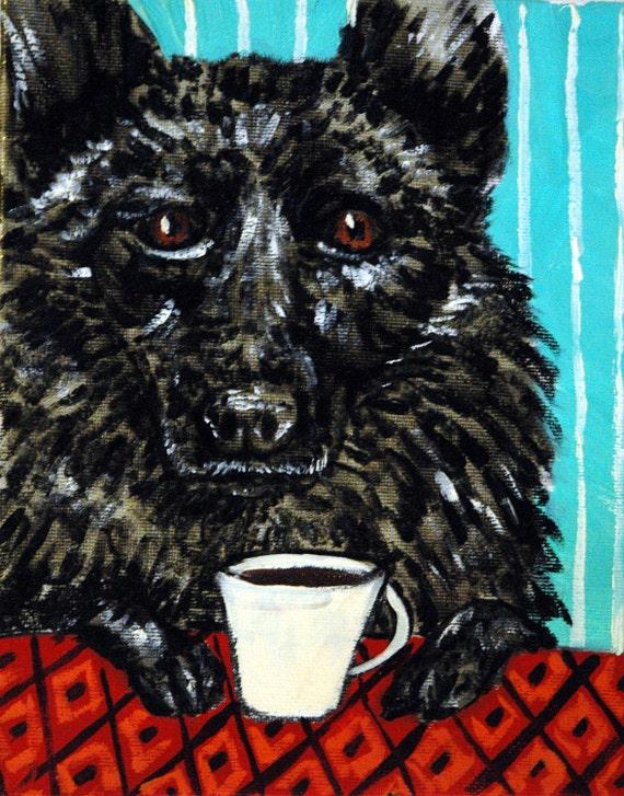 Shipirke dog art PRINT  poster coffee