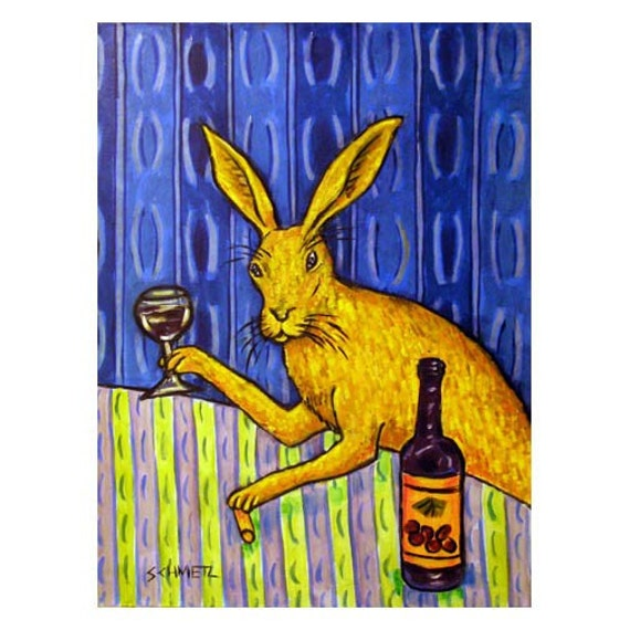 Bunny Rabbit at the Wine Bar Animal Art Print  JSCHMETZ modern abstract folk pop art american ART gift
