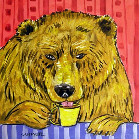 Bear Brown Bear Grizzly Bear Tile Ceramic Coaster Coffee