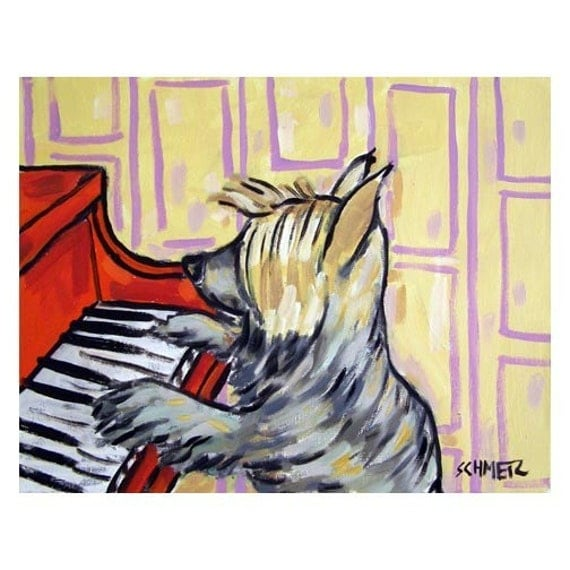 Silky Terrier Playing Piano Dog Art Print 8x10