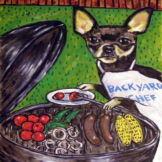 Chihuahua at the Cook Out Dog Art Tile Coaster
