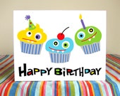 Cupcake Party Birthday Card