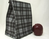 Insulated Lunch Bag - Gray Plaid Lunch Bag