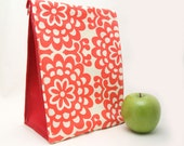 Eco Insulated Lunch Bag for Back to School in Red Wallflower