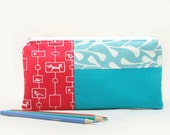 Pencil Case in Red Woodland Print with Teal Blue Zipper Pouch by Julie Meyer on Etsy