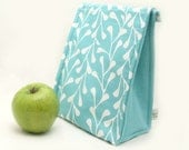 Eco Insulated Lunch Bag for Back to School in a Sky Blue Turquoise Leaf Print by Julie Meyer on Etsy